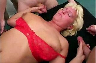 Granny gangbang with fucking