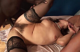 Milf with hairy pussy and two guys... anal double penetration