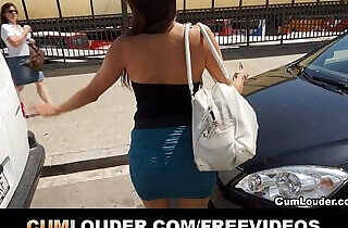 Spanish brunette babe fucked hard in a Van
