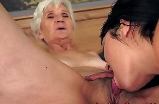 Amazing brunette babe pussylicking shorthaired mature