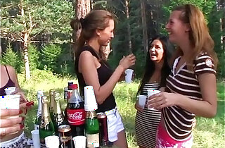 Topless college chicks erotically wash car at the picnic