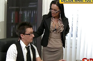 Dirty office bitch gets pussy nailed