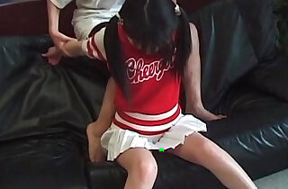 Jap cheerleader in pigtails in her first fuck video