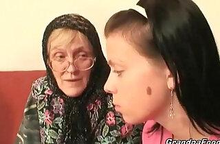 Hot babe helps granny sucks cock