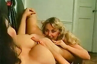 Retro office babes lick and tease at work