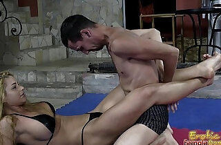 Victorious Wrestling Domina Jerks Off Her Loser Slave