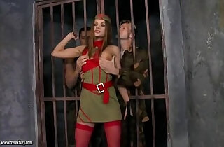 Captured soldier slut fucked in her holes by two dicks