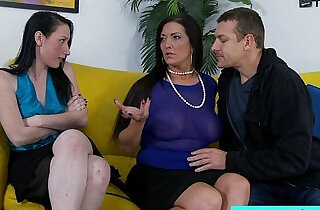 Stepmom and stepdaughter sharing cock